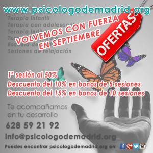 OFERTAS y PROMOCIONES en septiembre en psicologodemadrid.org Primera sesión al 50% y descuentos adicionales en bonos de 5 y 10 sesiones