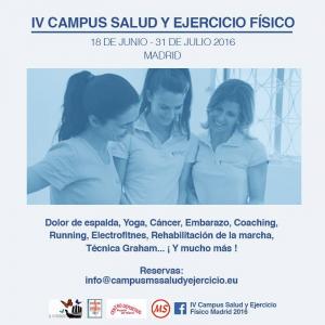 El IV Campus MS Salud y Ejercicio Físico es una propuesta formativa teórico práctica orientada a profesionales y estudiantes de la salud y el ejercicio físico. En Puerta de Hierro, Madrid, 2016