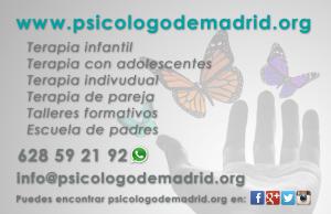 Tarjeta de psicologodemadrid.org . contacta con nosotros y pide tu cita para terapia individual, infantil, adolescente, de pareja, sexologia, EMDR, adicciones, etc